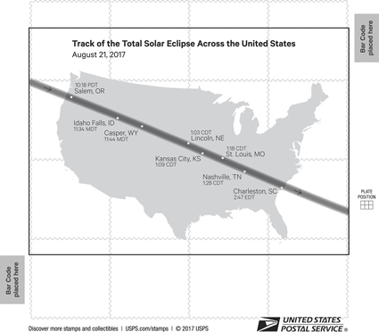 The back of the stamp pane features a map of the path of totality of the 21 August eclipse.