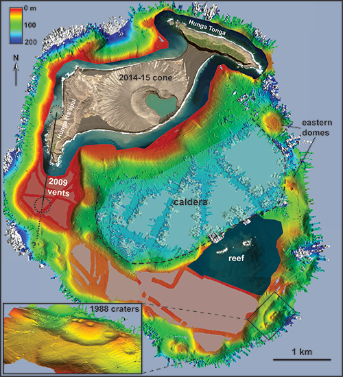 Bathymetry closeup of a new volcanic island, within other volcanoes of the South Pacific's Tonga islands.