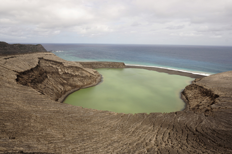 A view a new volcanic island's crater lake; the volcano is part of a systemin the South Pacific's Tonga islands.