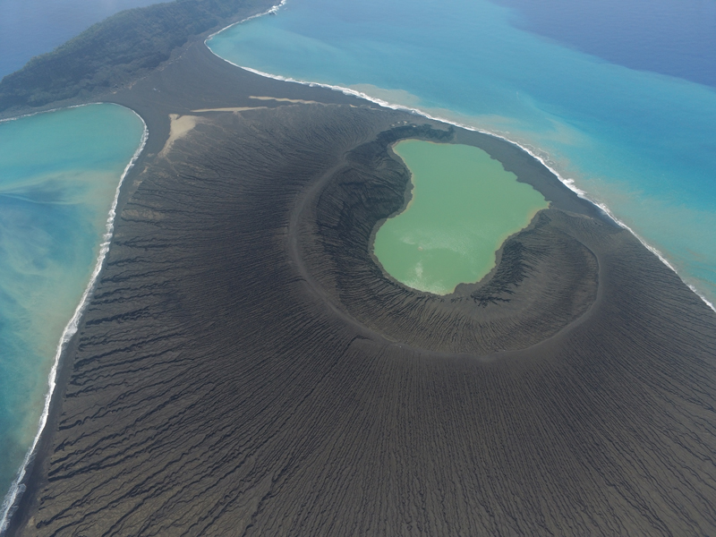 A view a new volcanic island's crater rim; the volcano is part of a systemin the South Pacific's Tonga islands.