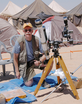 Astrophysicist Fred Espenak, who shot the eclipse stamp photo.