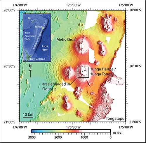 Geologic setting of a new volcanic island, within other volcanoes of the South Pacific's Tonga islands.