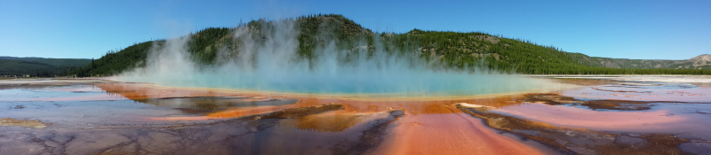 The Grand Prismatic hot spring in Yellowstone National Park.