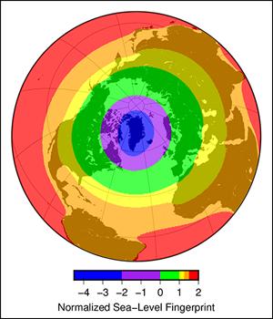 Sea level rise on the East Coast is more pronounced south of 40°N latitude.