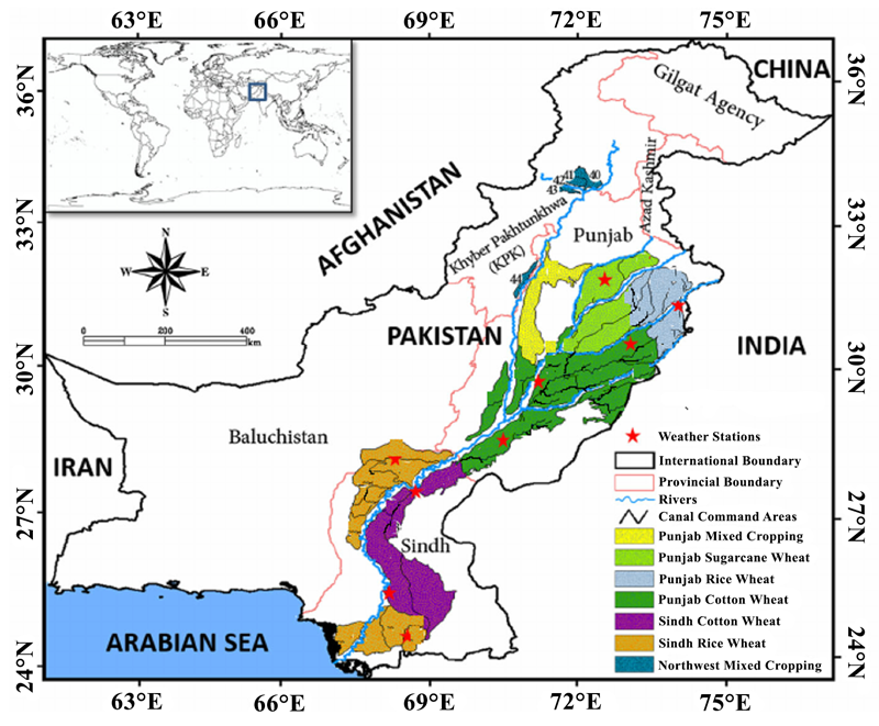 Location of the Indus Basin Irrigation System in Pakistan.