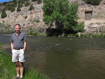Tim Cohn visits the historic USGS stream gauge at Embudo, N.M.