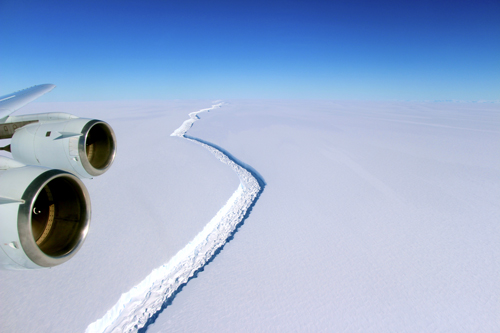 A wide view of the crack in the Larsen C ice shelf in 2016.