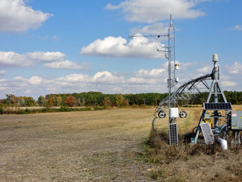 A post-harvest view of the flux tower within an agricultural field on Maryland's Eastern Shore.