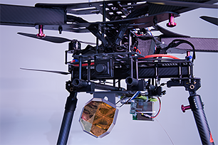 Retroreflector mounted on a multicopter