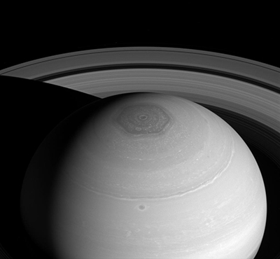 A picture of Saturn's hexagon