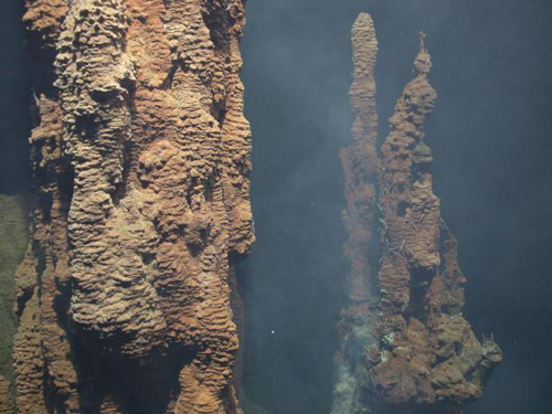 Hydrothermal vent structures at the Mariner site in the South Pacific.
