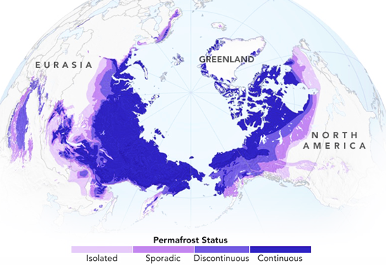 About 37 million square kilometers of permafrost exist in the Northern Hemisphere