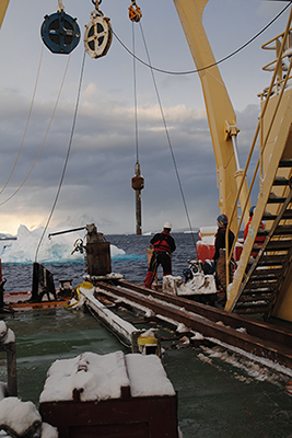 Collecting sediments in Gerlache Strait off the Antarctic Peninsula.