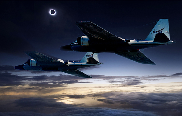 Research jets during a solar eclipse.
