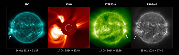 Observations of the October 14, 2014 coronal mass ejection