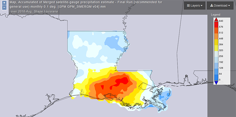 Giovanni map of accumulated rainfall for the record-breaking August 2016 flood in Louisiana