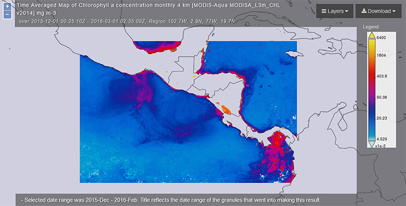 Giovanni map of chlorophyll concentrations near the coastlines of Central America during the winter of 2015–2016