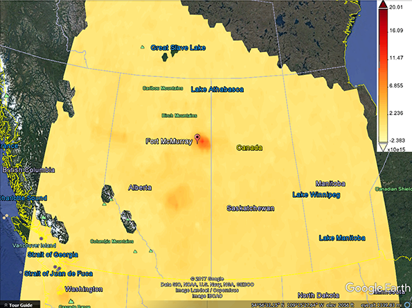 Giovanni map of nitrogen dioxide levels during the May 2016 Fort McMurray wildfires in Alberta, Canada