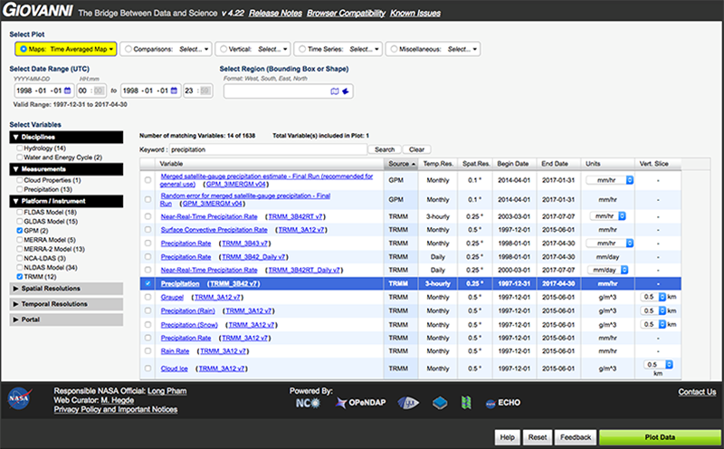 More than 1600 variables are available for visualization and analysis in the Giovanni Web interface