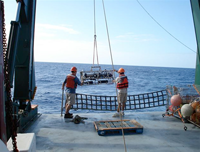 Scientists deploy bio-optical instrumentation during a Hawaii Ocean Time-series cruise.