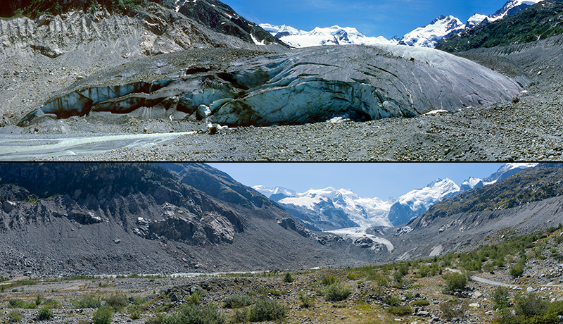 The retreat of the Morteratsch glacier is clearly visible in these pictures, taken from the same vantage point in 1985 and 2015.