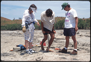 Scientists take a core of coastal sediments during a return survey in 1995 to areas affected by the 1992 Nicaragua tsunami.