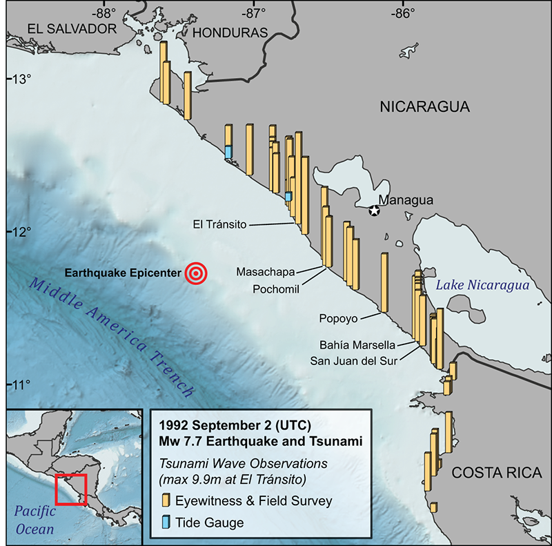 Tsunami wave observations from the 1 September 1992 Nicaragua earthquake and tsunami along the coasts of Nicaragua and Costa Rica.