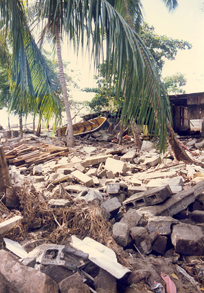 Destruction seen in the town of Masachapa, Nicaragua, the morning after the 1 September 1992 tsunami.