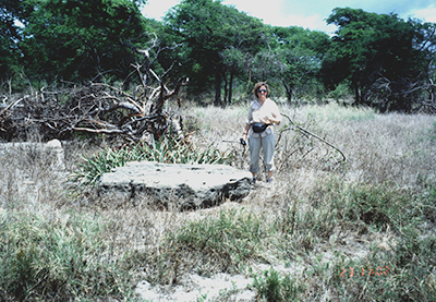 ITST member stands next to a large rock that the 1 September 1992 Nicaragua tsunami carried 50 meters inland.