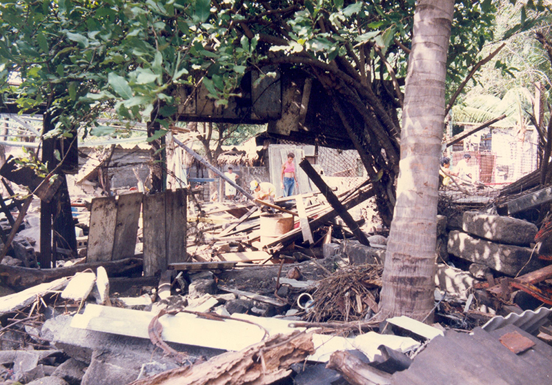 A resident assesses damage in San Juan del Sur, Nicaragua, days after the 1 September 1992 tsunami.