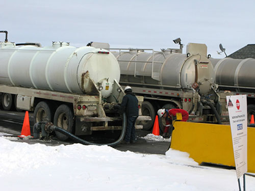 Oil field waste arrives at a wastewater disposal facility near Platteville, Colo.