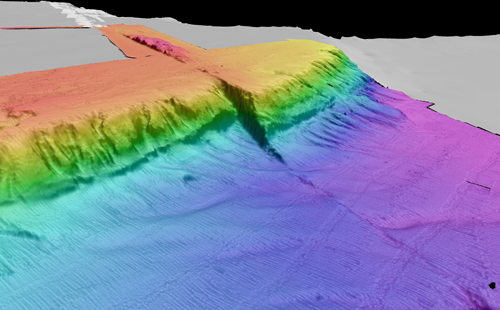 The Queen Charlotte–Fairweather fault emerges from the Alaskan coast and stretches across the ocean floor.