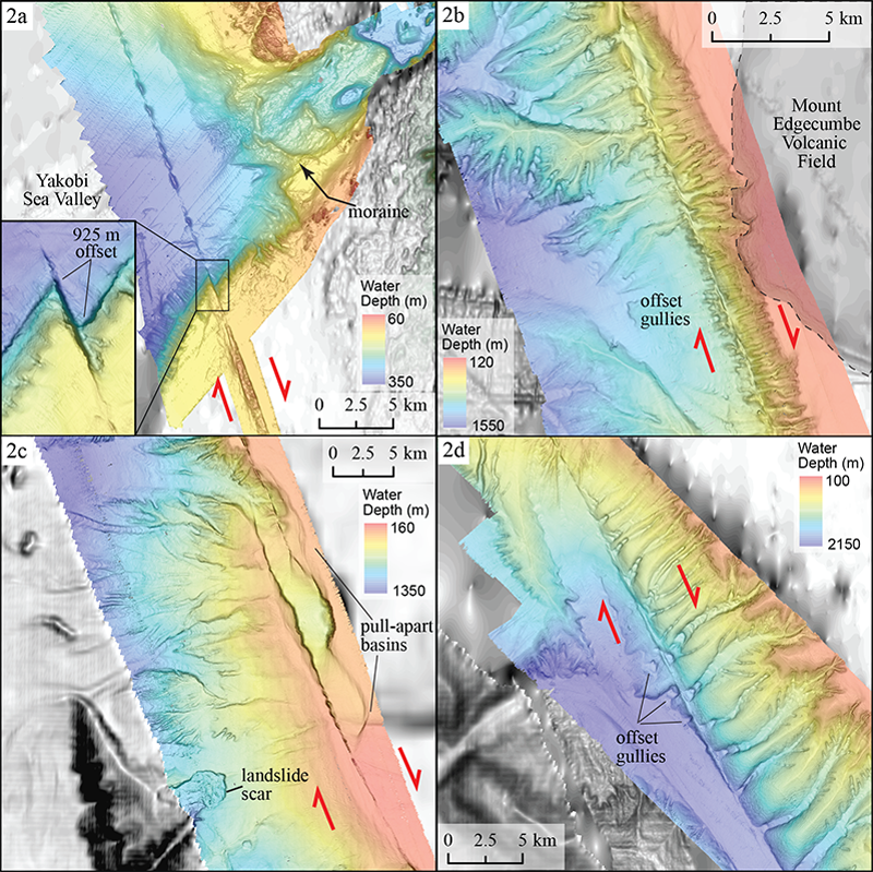 High-resolution depth images at four locations along the Queen Charlotte fault.