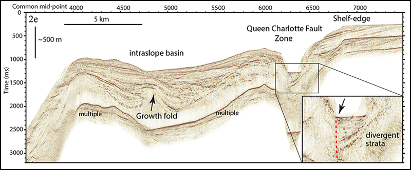 Seismic reflection profile acquired in August 2016.
