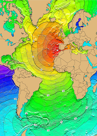 Travel times for tsunami from 1755 Lisbon, Portugal earthquake.