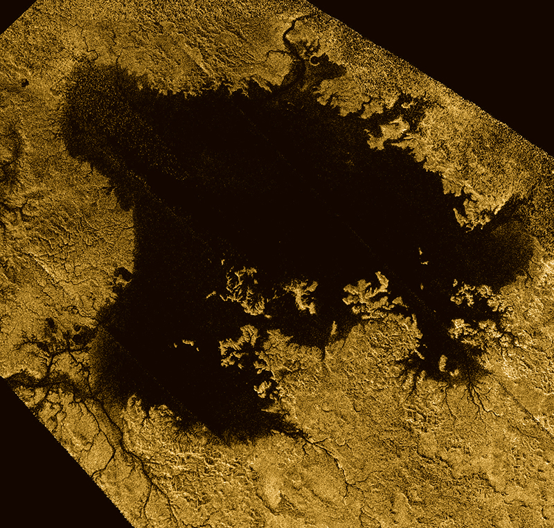 Cassini's view of a Titan lake