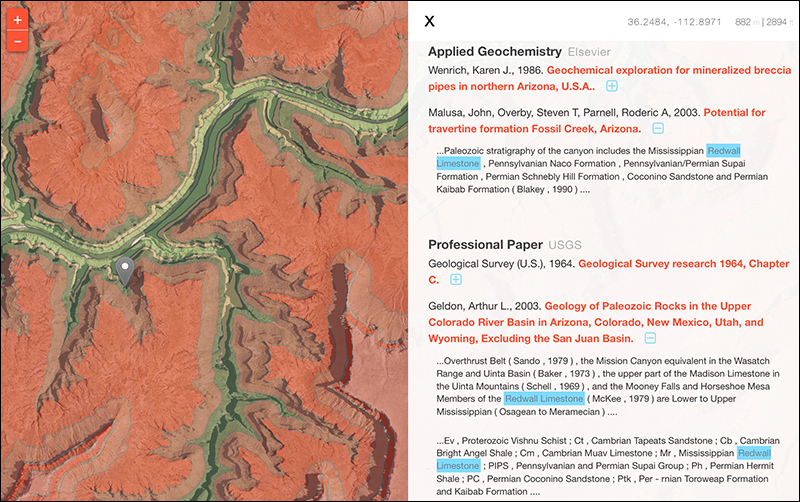 A list of publications mentioning Redwall Limestone is returned to the user via the GeoDeepDive API.