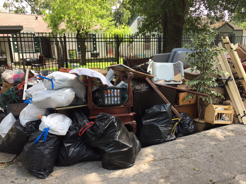 A debris pile in front of a Houston home, containing items ruined by Harvey's floodwaters.