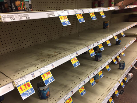 No soup for you! Houstonians stocked up on soup prior to Hurricane Harvey's landfall, leaving these shelves bare.