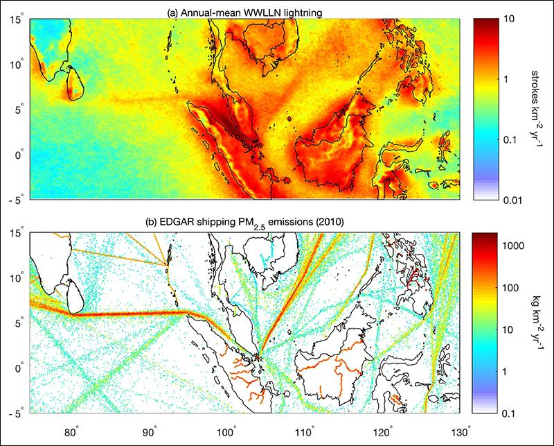Lightning density map.