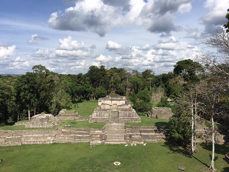 Mayan ruins designated Structure A6 in Caracol, Belize.