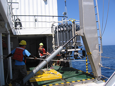 CTD sampling rosette takes real-time, sensor-based measurements of ocean physics, chemistry, and biology.