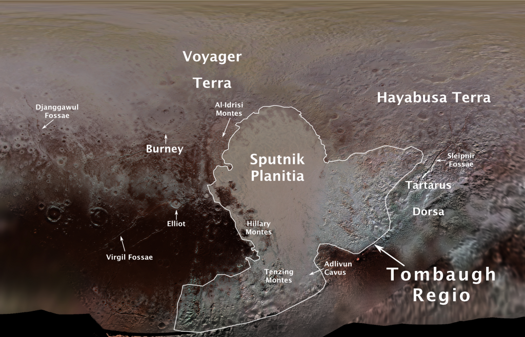 Tourist destinations of Pluto. Image: NASA/Johns Hopkins University Applied Physics Laboratory/SwRI/Ross Beyer.