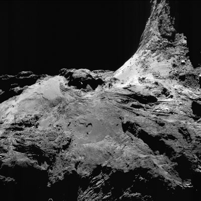 Image of comet 67P on 25 June 2016 while Rosetta orbited 16.7 kilometers away. The image is 1.5 kilometers across