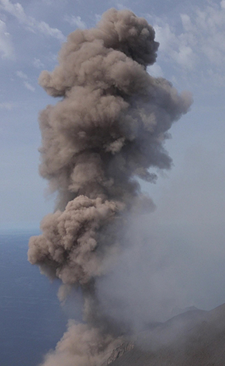 The UAV captured this visible-light still frame of an expanding ash-rich volcanic explosion from Stromboli.