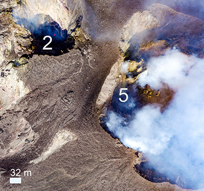 The UAV captured this image of volcanic vents in the northeast and southwest regions of Stromboli between explosions.