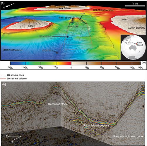 Three-dimensional bathymetric view of the Bismarck Sea near Ritter Island
