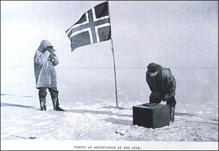 Roald Amundsen's team takes measurements at the South Pole.