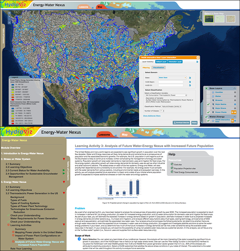 Interface of the energy–water nexus Web platform