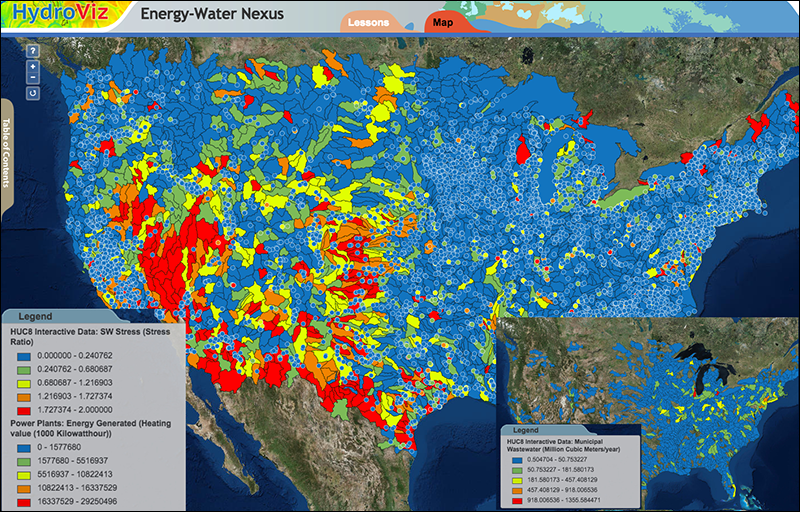 Students estimate net availability of water-for-energy resources and stresses on the water system under different scenarios.